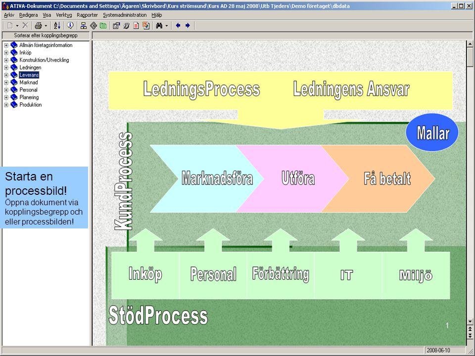 Starta en processbild! Öppna dokument via kopplingsbegrepp och eller processbilden!