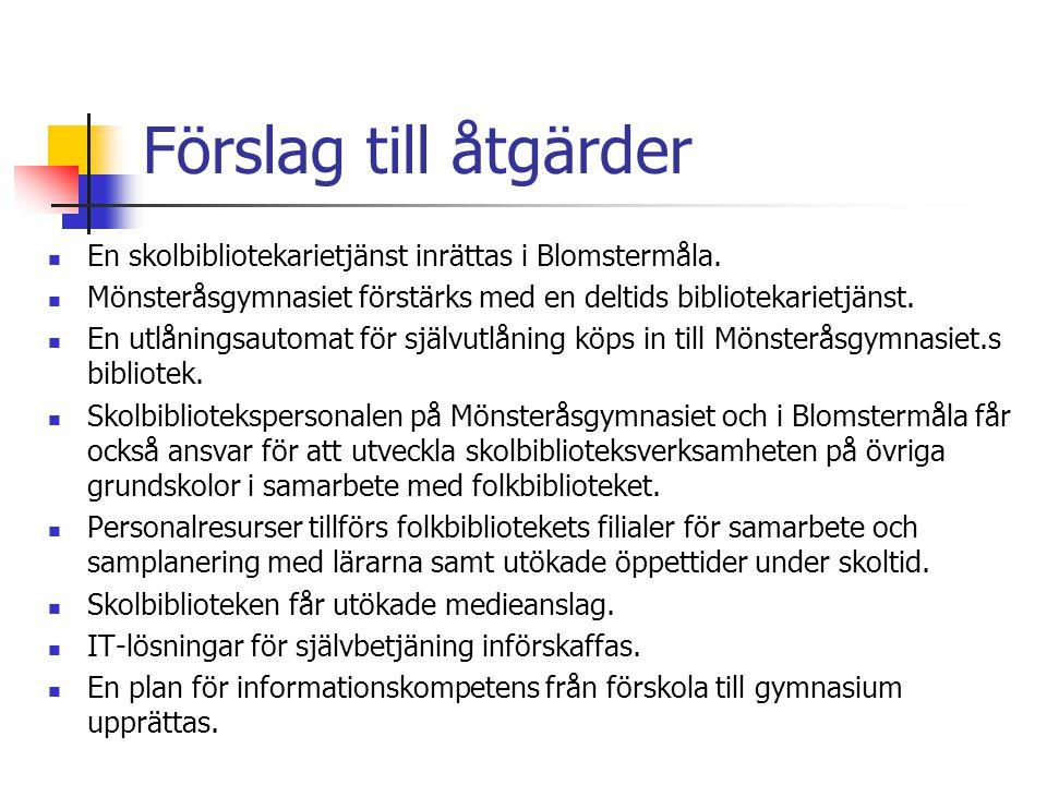 Förslag till åtgärder En skolbibliotekarietjänst inrättas i Blomstermåla.