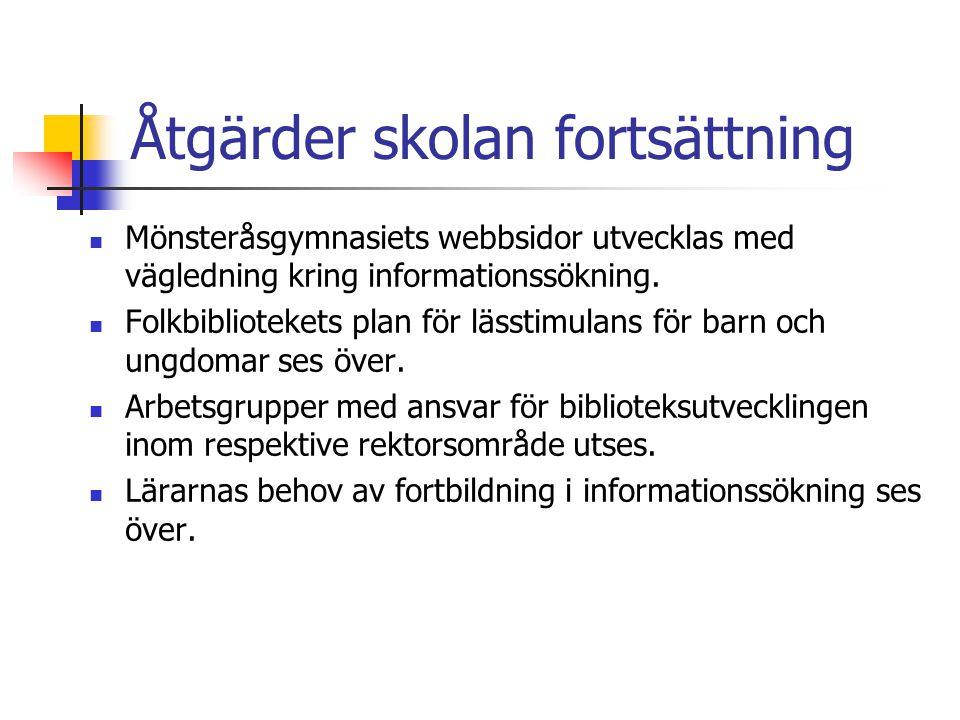 Åtgärder skolan fortsättning Mönsteråsgymnasiets webbsidor utvecklas med vägledning kring informationssökning.