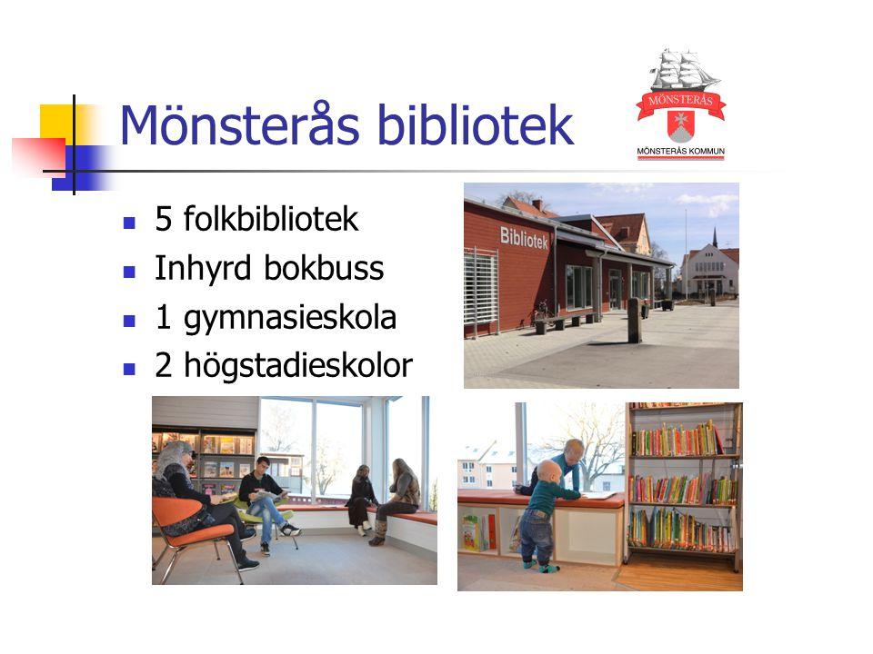 Mönsterås bibliotek 5 folkbibliotek Inhyrd bokbuss 1 gymnasieskola 2 högstadieskolor