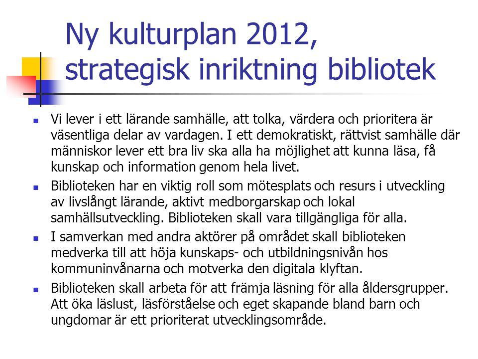 Ny kulturplan 2012, strategisk inriktning bibliotek Vi lever i ett lärande samhälle, att tolka, värdera och prioritera är väsentliga delar av vardagen.