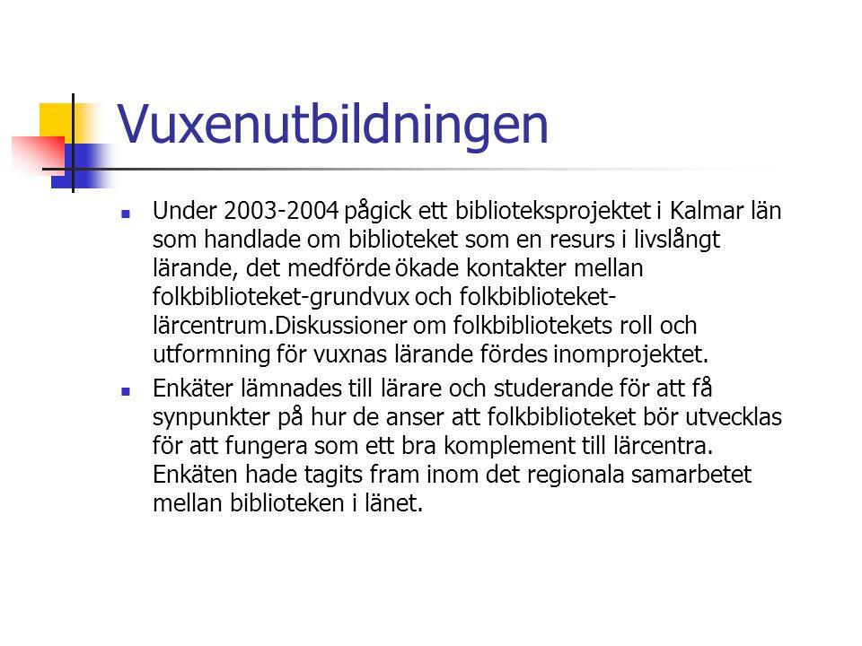 Vuxenutbildningen Under 2003-2004 pågick ett biblioteksprojektet i Kalmar län som handlade om biblioteket som en resurs i livslångt lärande, det medförde ökade kontakter mellan folkbiblioteket-grundvux och folkbiblioteket- lärcentrum.Diskussioner om folkbibliotekets roll och utformning för vuxnas lärande fördes inomprojektet.