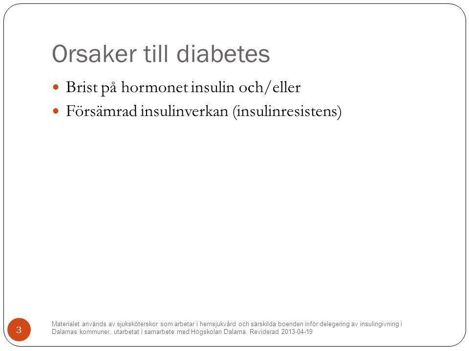 Orsaker till diabetes Brist på hormonet insulin och/eller Försämrad insulinverkan (insulinresistens) Materialet används av sjuksköterskor som arbetar i hemsjukvård och särskilda boenden inför delegering av insulingivning i Dalarnas kommuner, utarbetat i samarbete med Högskolan Dalarna.