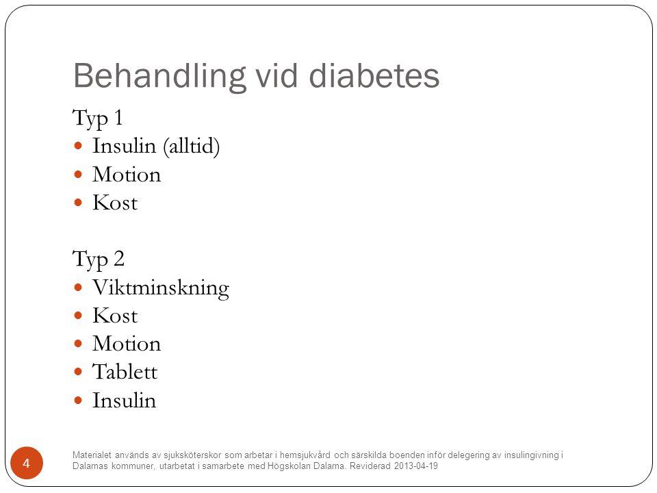 Behandling vid diabetes Typ 1 Insulin (alltid) Motion Kost Typ 2 Viktminskning Kost Motion Tablett Insulin Materialet används av sjuksköterskor som arbetar i hemsjukvård och särskilda boenden inför delegering av insulingivning i Dalarnas kommuner, utarbetat i samarbete med Högskolan Dalarna.