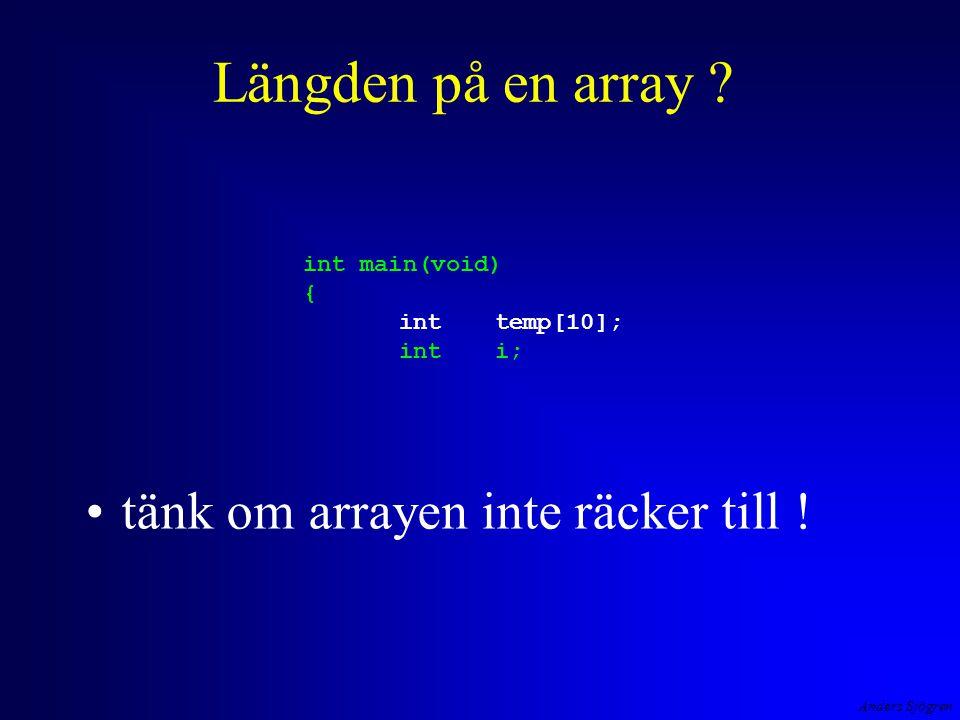 Anders Sjögren Längden på en array . tänk om arrayen inte räcker till .