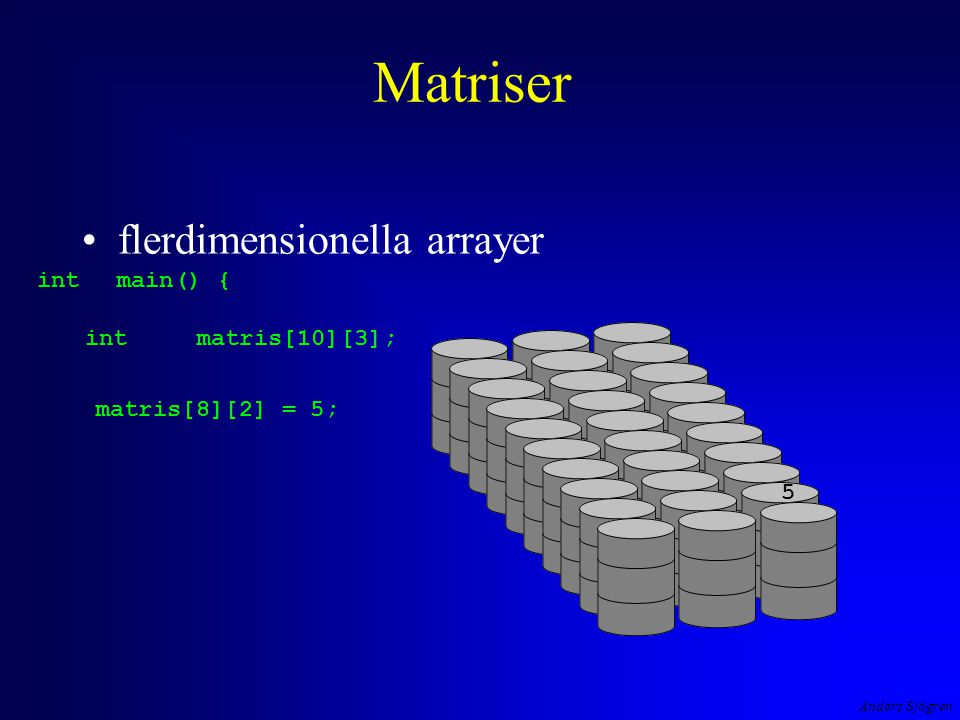 Anders Sjögren Matriser flerdimensionella arrayer intmain() { intmatris[10][3]; 5 matris[8][2] = 5;