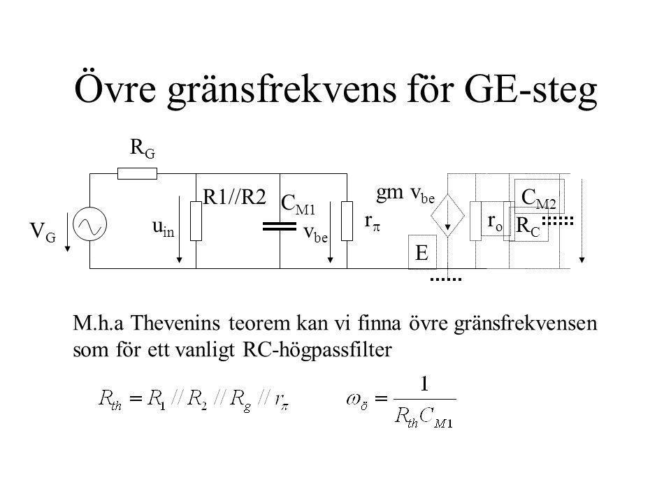 GB-steget (gemensam bas) U ut Basen signalmässigt jordad via kondensator och fungerar som skärm mellan in- och utgång Används i högfrekvens- kopplingar p.g.a.