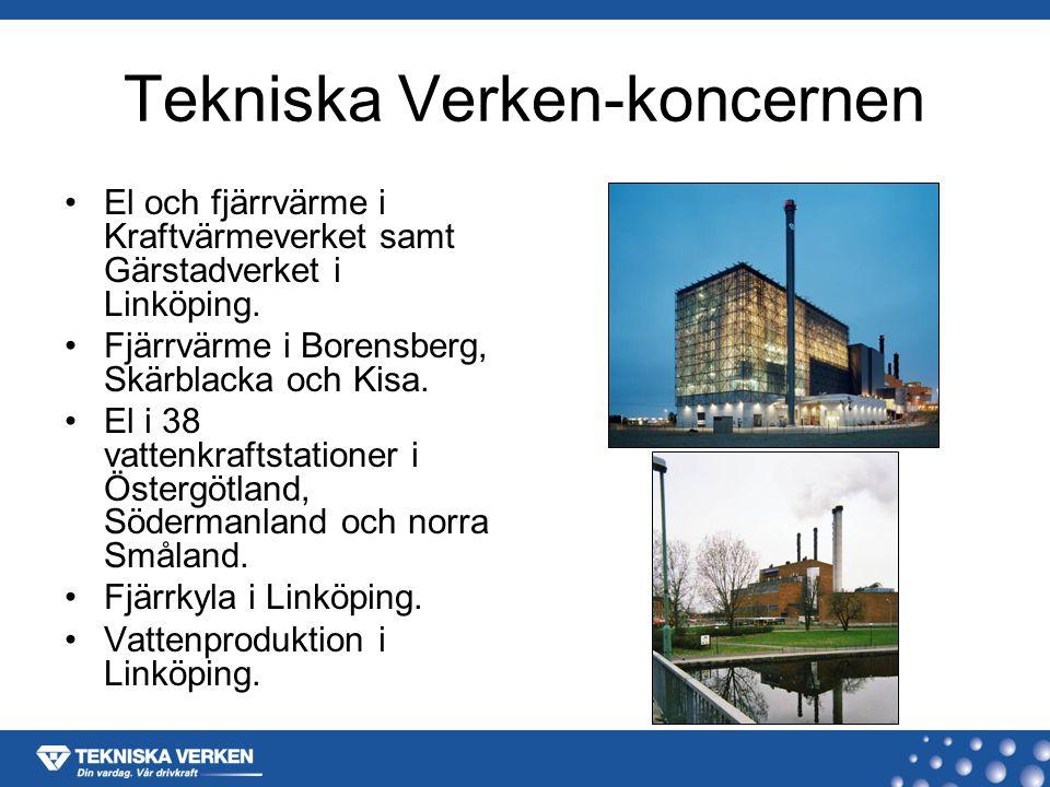 El och fjärrvärme i Kraftvärmeverket samt Gärstadverket i Linköping.