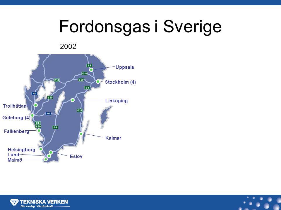 Fordonsgas i Sverige 2002 Göteborg (4) Trollhättan Falkenberg Helsingborg Malmö Lund Eslöv Kalmar Linköping Stockholm (4) Uppsala