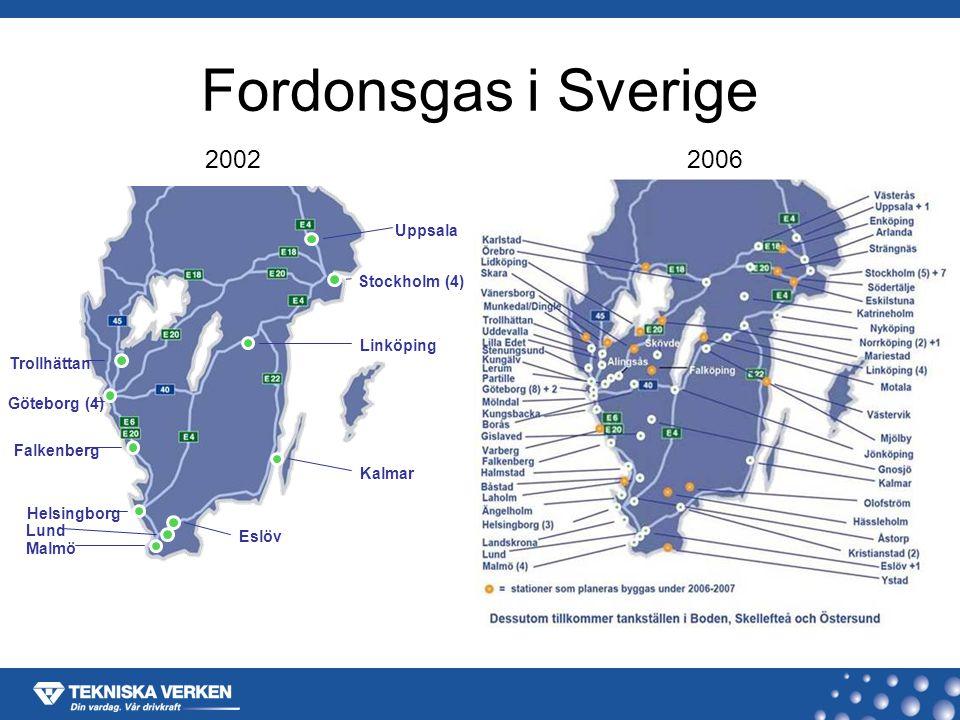 Fordonsgas i Sverige 20022006 Göteborg (4) Trollhättan Falkenberg Helsingborg Malmö Lund Eslöv Kalmar Linköping Stockholm (4) Uppsala