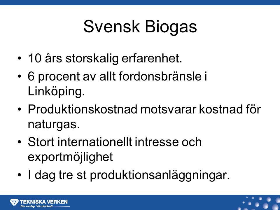 Produktionsanläggningar i dag Reningsverket Nykvarn – 6000 m3 rötningsvolym – 110 000 m3 primärslam – 2,35 M m3 rågas Linköping Biogas –2 * 3700 m3 rötningsvolym –55 000 ton klass 3 avfall –6,5 M m3 rågas Norrköping Biogas –2000 m3 rötningsvolym –20 000 m3 drank samt spannmål –2,6 M m3 rågas