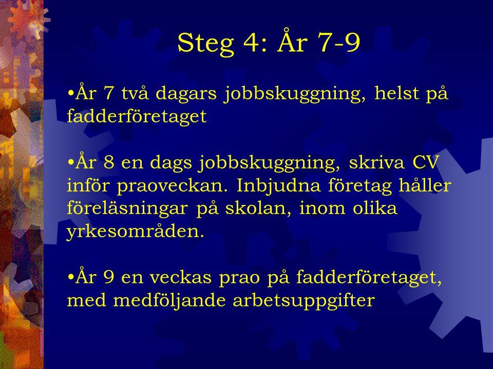 Steg 4: År 7-9 År 7 två dagars jobbskuggning, helst på fadderföretaget År 8 en dags jobbskuggning, skriva CV inför praoveckan.
