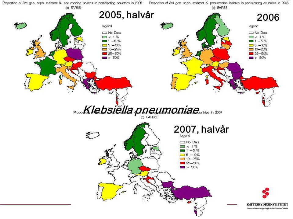 2005, halvår 2007, halvår 2006 Klebsiella pneumoniae