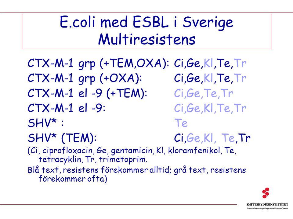 E.coli med ESBL i Sverige Multiresistens CTX-M-1 grp (+TEM,OXA):Ci,Ge,Kl,Te,Tr CTX-M-1 grp (+OXA): Ci,Ge,Kl,Te,Tr CTX-M-1 el -9 (+TEM): Ci,Ge,Te,Tr CT