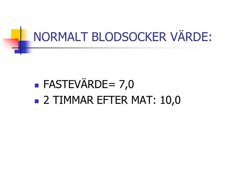 NORMALT BLODSOCKER VÄRDE: FASTEVÄRDE= 7,0 2 TIMMAR EFTER MAT: 10,0