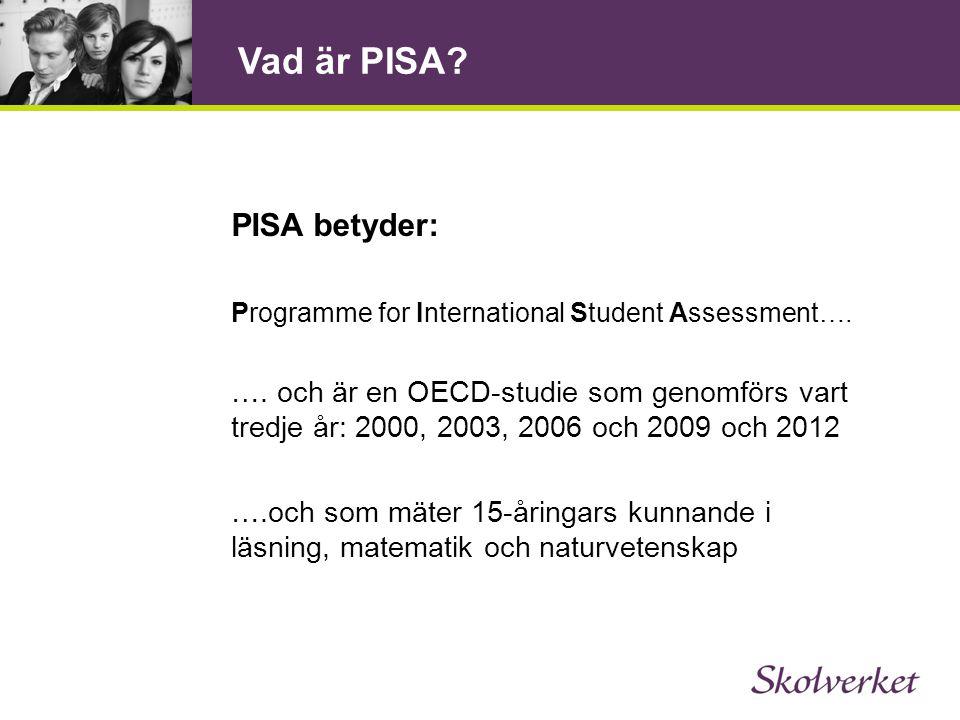 Vad är PISA. PISA betyder: Programme for International Student Assessment….