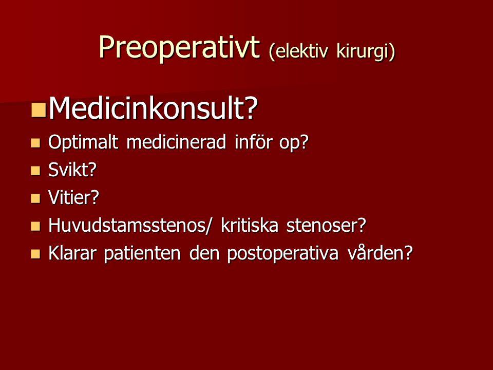 Preoperativt (elektiv kirurgi) Medicinkonsult? Medicinkonsult? Optimalt medicinerad inför op? Optimalt medicinerad inför op? Svikt? Svikt? Vitier? Vit