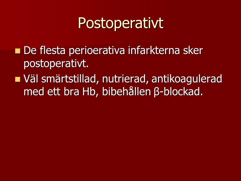 Postoperativt De flesta perioerativa infarkterna sker postoperativt. De flesta perioerativa infarkterna sker postoperativt. Väl smärtstillad, nutriera