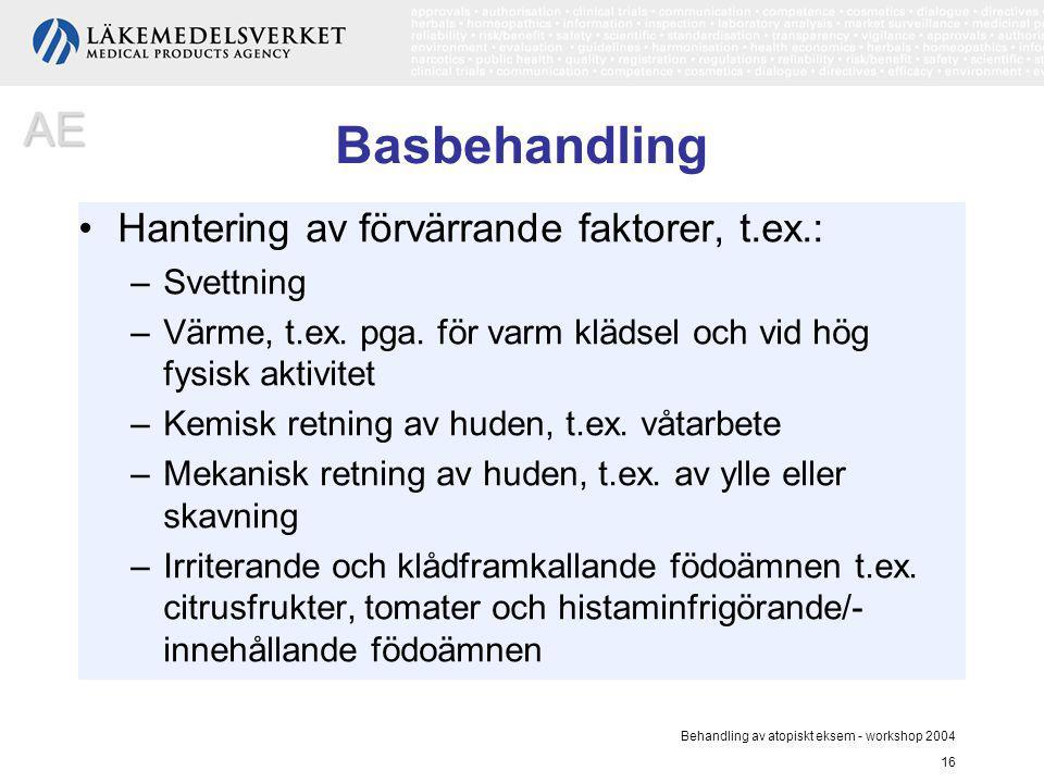 Behandling av atopiskt eksem - workshop 2004 16 Basbehandling Hantering av förvärrande faktorer, t.ex.: –Svettning –Värme, t.ex. pga. för varm klädsel