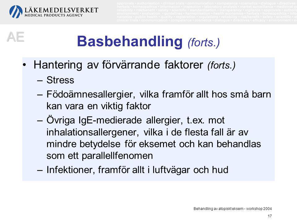 Behandling av atopiskt eksem - workshop 2004 17 Basbehandling (forts.) Hantering av förvärrande faktorer (forts.) –Stress –Födoämnesallergier, vilka f