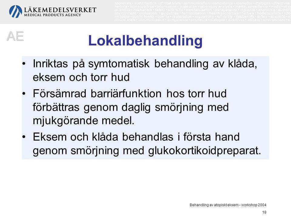 Behandling av atopiskt eksem - workshop 2004 18 Lokalbehandling Inriktas på symtomatisk behandling av klåda, eksem och torr hud Försämrad barriärfunkt