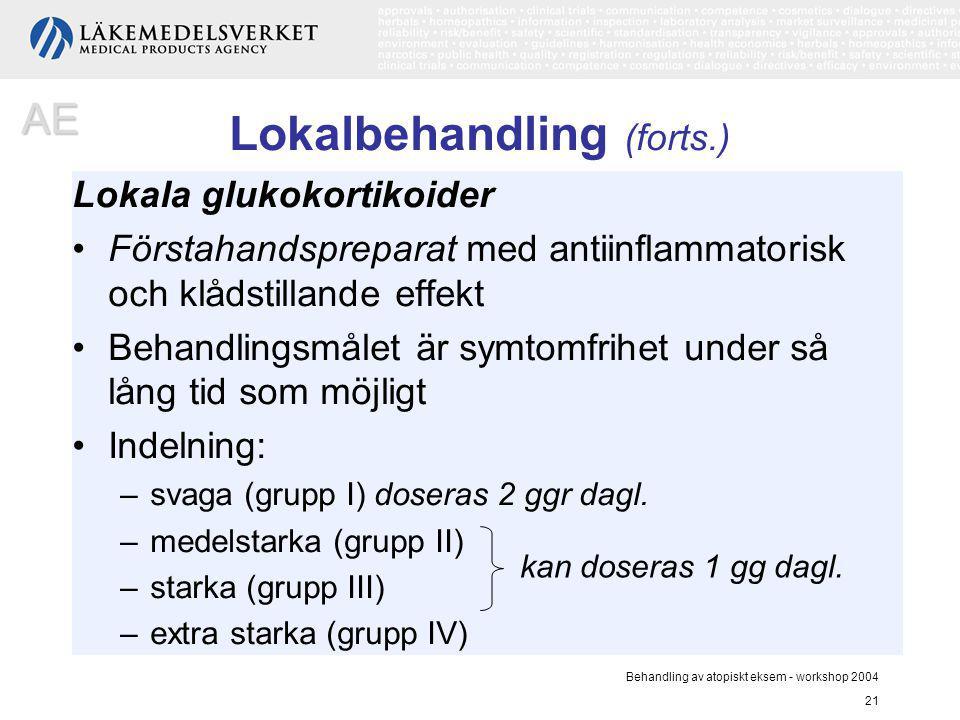 Behandling av atopiskt eksem - workshop 2004 21 Lokalbehandling (forts.) Lokala glukokortikoider Förstahandspreparat med antiinflammatorisk och klådst