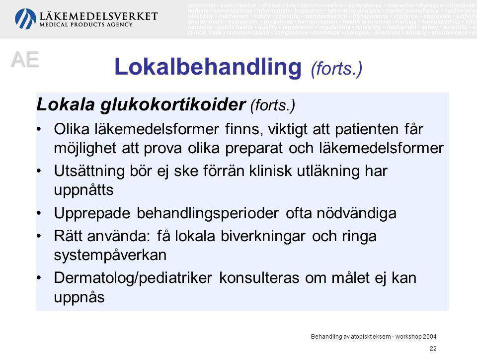 Behandling av atopiskt eksem - workshop 2004 22 Lokalbehandling (forts.) Lokala glukokortikoider (forts.) Olika läkemedelsformer finns, viktigt att pa