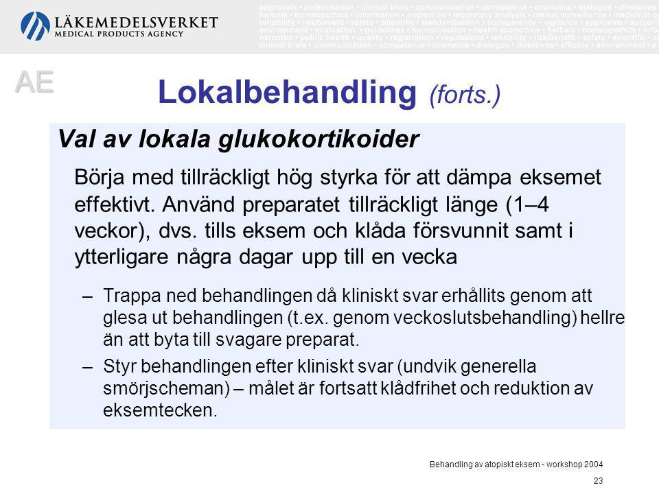 Behandling av atopiskt eksem - workshop 2004 23 Lokalbehandling (forts.) Val av lokala glukokortikoider Börja med tillräckligt hög styrka för att dämp