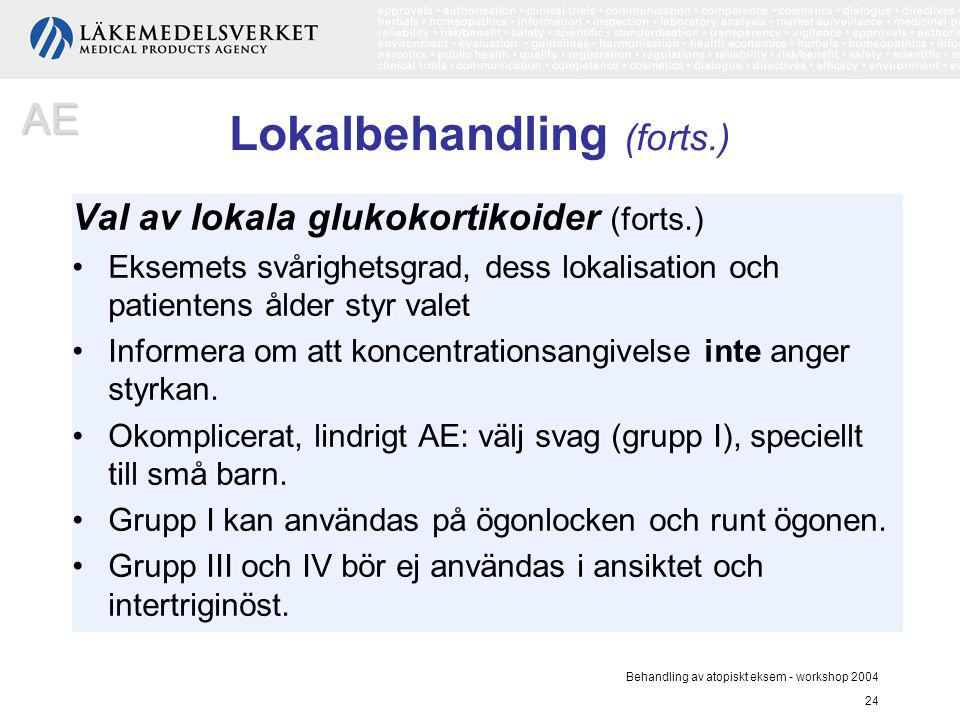 Behandling av atopiskt eksem - workshop 2004 24 Lokalbehandling (forts.) Val av lokala glukokortikoider (forts.) Eksemets svårighetsgrad, dess lokalis