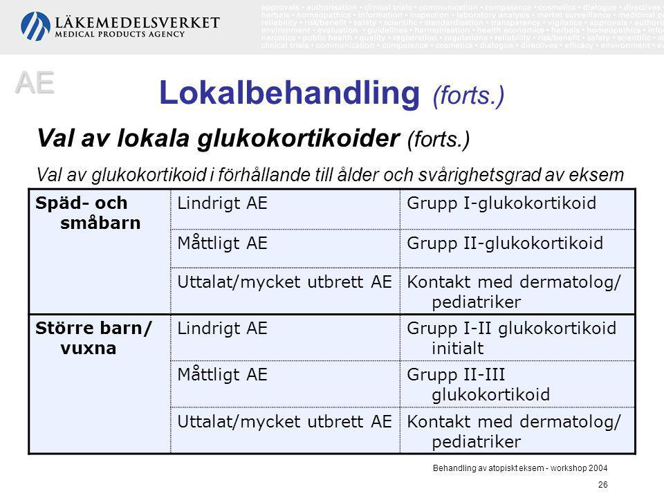 Behandling av atopiskt eksem - workshop 2004 26 Val av glukokortikoid i förhållande till ålder och svårighetsgrad av eksem Späd- och småbarn Lindrigt