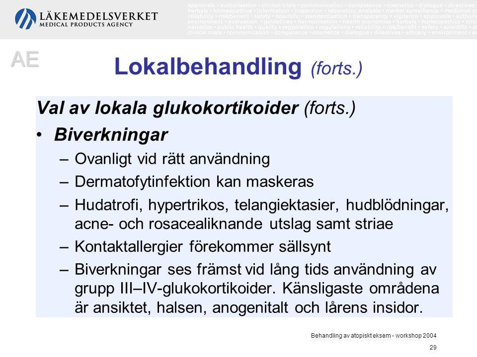 Behandling av atopiskt eksem - workshop 2004 29 Lokalbehandling (forts.) Val av lokala glukokortikoider (forts.) Biverkningar –Ovanligt vid rätt använ