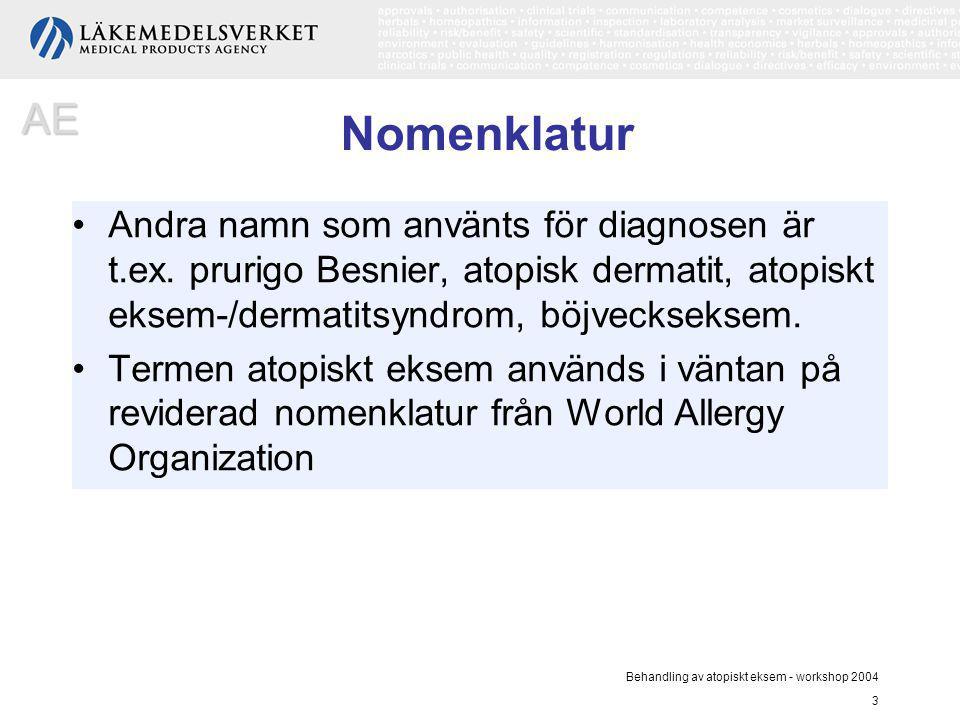 Behandling av atopiskt eksem - workshop 2004 3 Nomenklatur Andra namn som använts för diagnosen är t.ex. prurigo Besnier, atopisk dermatit, atopiskt e