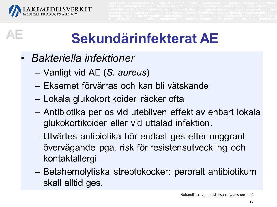 Behandling av atopiskt eksem - workshop 2004 32 Sekundärinfekterat AE Bakteriella infektioner –Vanligt vid AE (S. aureus) –Eksemet förvärras och kan b