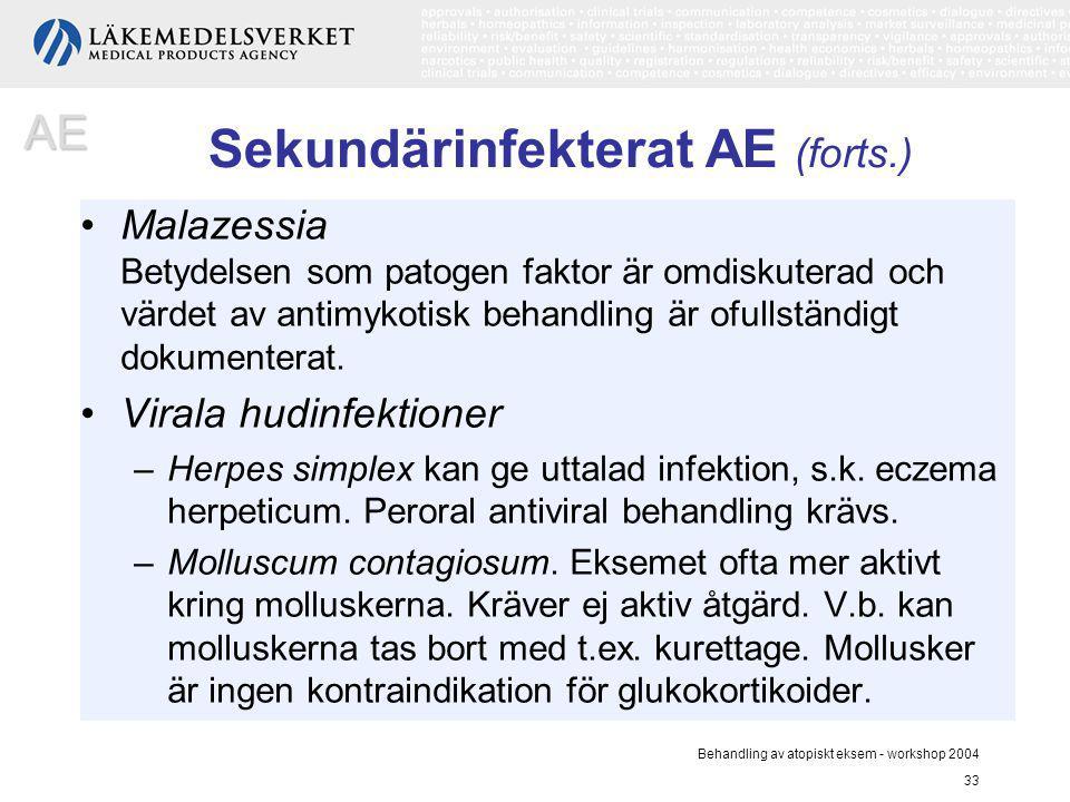 Behandling av atopiskt eksem - workshop 2004 33 Sekundärinfekterat AE (forts.) Malazessia Betydelsen som patogen faktor är omdiskuterad och värdet av