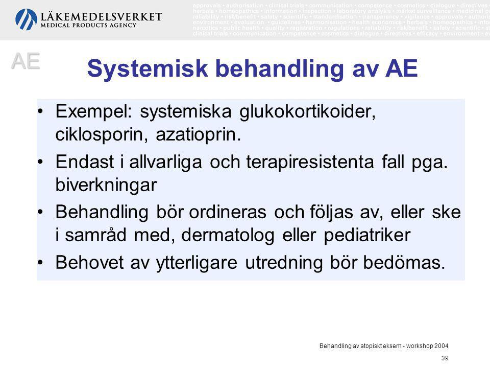 Behandling av atopiskt eksem - workshop 2004 39 Exempel: systemiska glukokortikoider, ciklosporin, azatioprin. Endast i allvarliga och terapiresistent