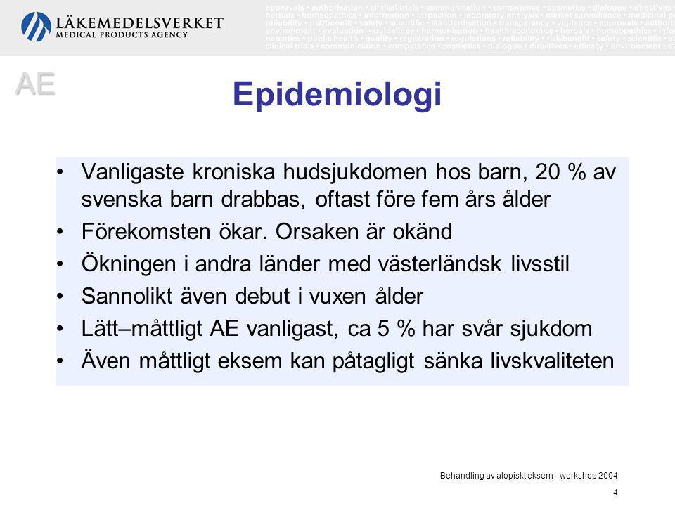 Behandling av atopiskt eksem - workshop 2004 4 Epidemiologi Vanligaste kroniska hudsjukdomen hos barn, 20 % av svenska barn drabbas, oftast före fem å