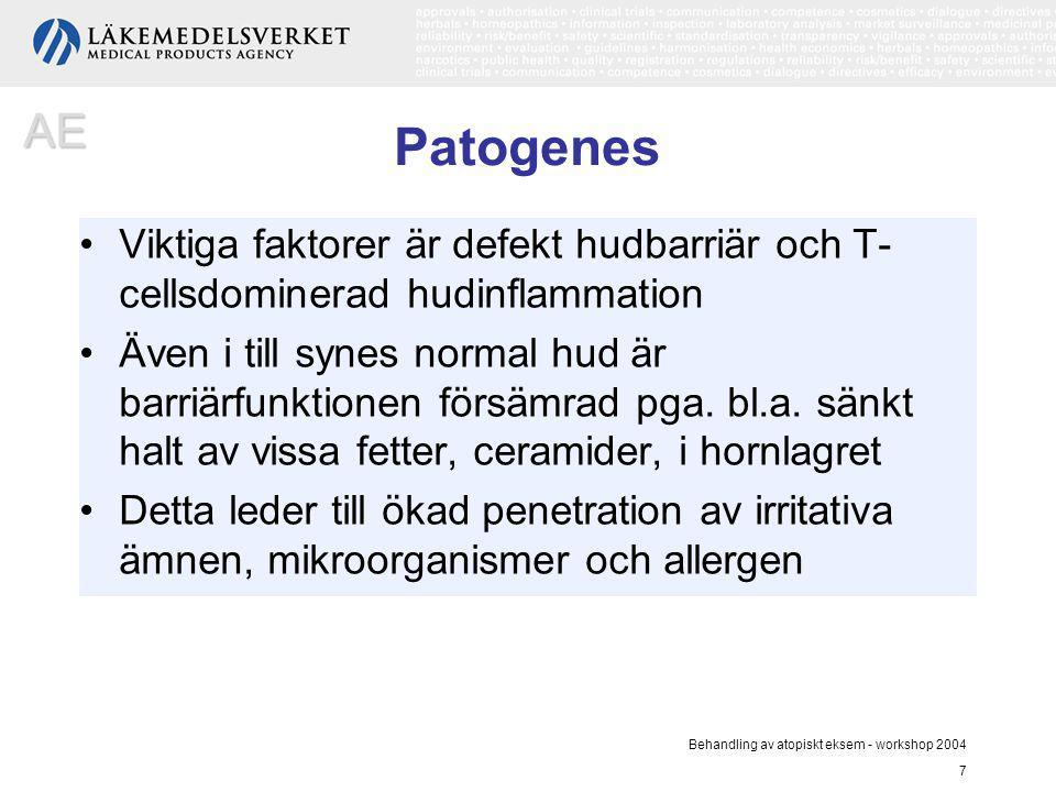 Behandling av atopiskt eksem - workshop 2004 7 Patogenes Viktiga faktorer är defekt hudbarriär och T- cellsdominerad hudinflammation Även i till synes