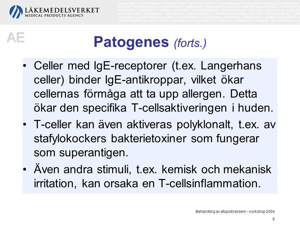 Behandling av atopiskt eksem - workshop 2004 9 Patogenes (forts.) Celler med IgE-receptorer (t.ex. Langerhans celler) binder IgE-antikroppar, vilket ö