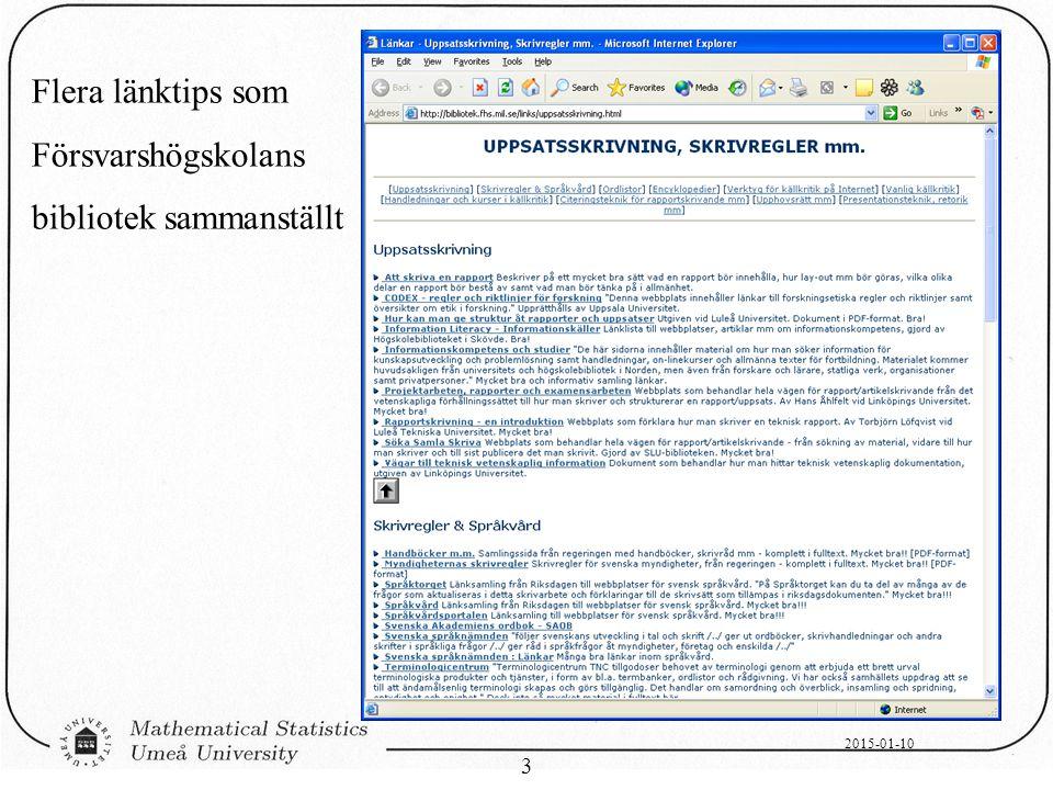 2015-01-10 3 Flera länktips som Försvarshögskolans bibliotek sammanställt