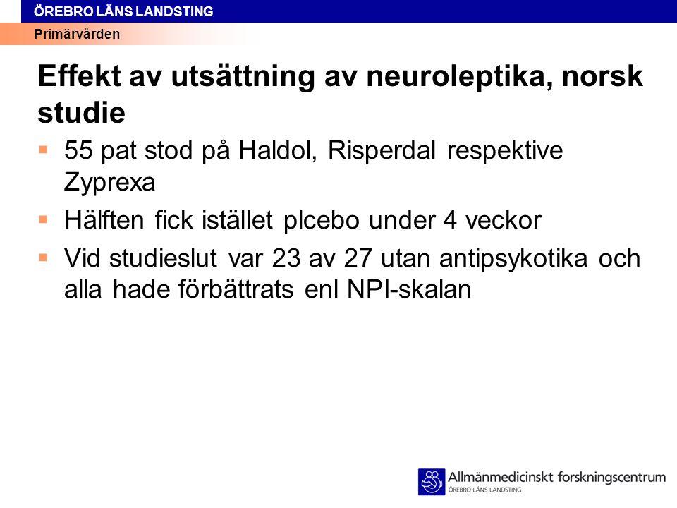 Primärvården ÖREBRO LÄNS LANDSTING Effekt av utsättning av neuroleptika, norsk studie  55 pat stod på Haldol, Risperdal respektive Zyprexa  Hälften