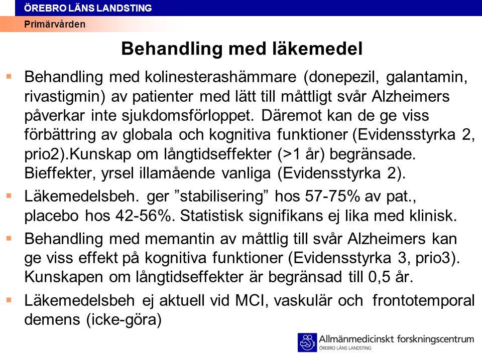 Primärvården ÖREBRO LÄNS LANDSTING Omvårdnadsaspekter, forts 3  Dagverksamhet (Prio2)  Flyttning: förberedelse (Prio2)  Demensboende.
