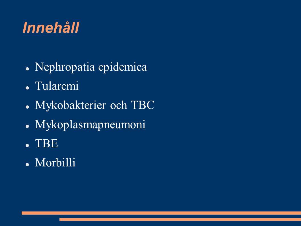 Innehåll Nephropatia epidemica Tularemi Mykobakterier och TBC Mykoplasmapneumoni TBE Morbilli