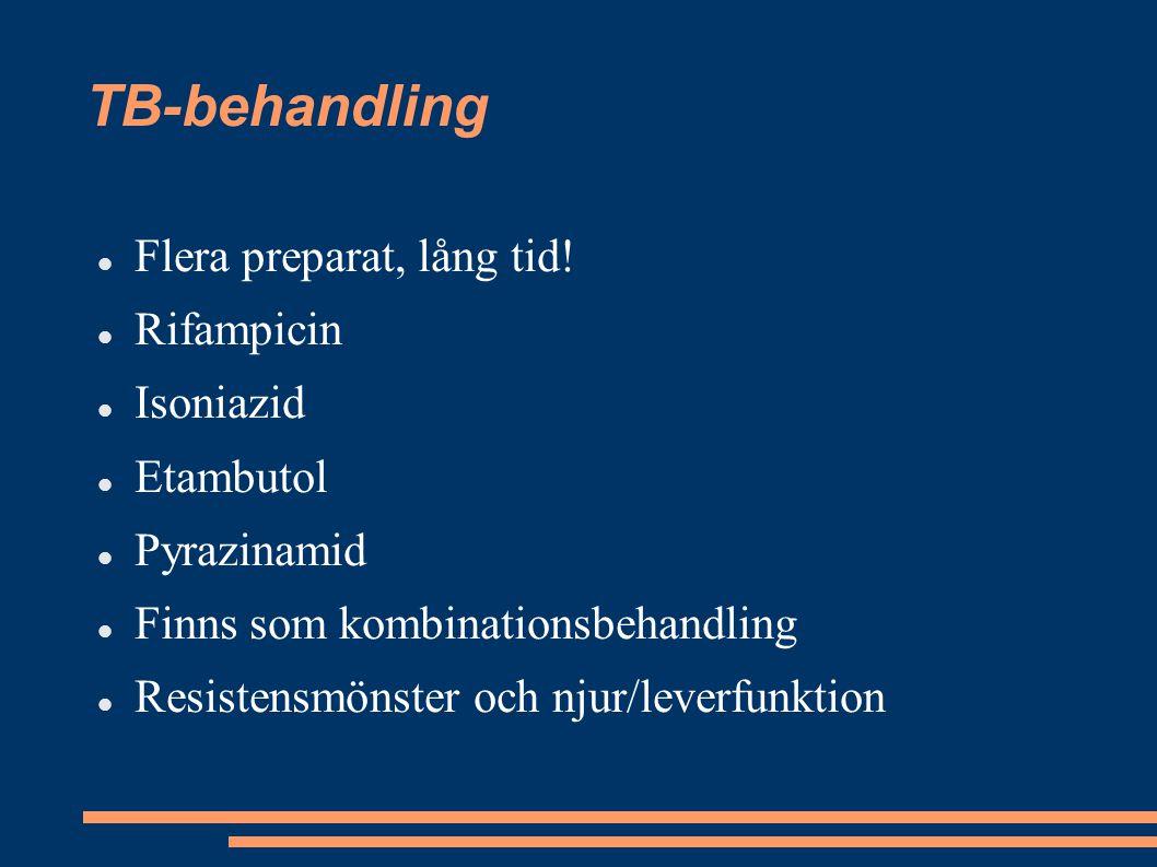 TB-behandling Flera preparat, lång tid! Rifampicin Isoniazid Etambutol Pyrazinamid Finns som kombinationsbehandling Resistensmönster och njur/leverfun