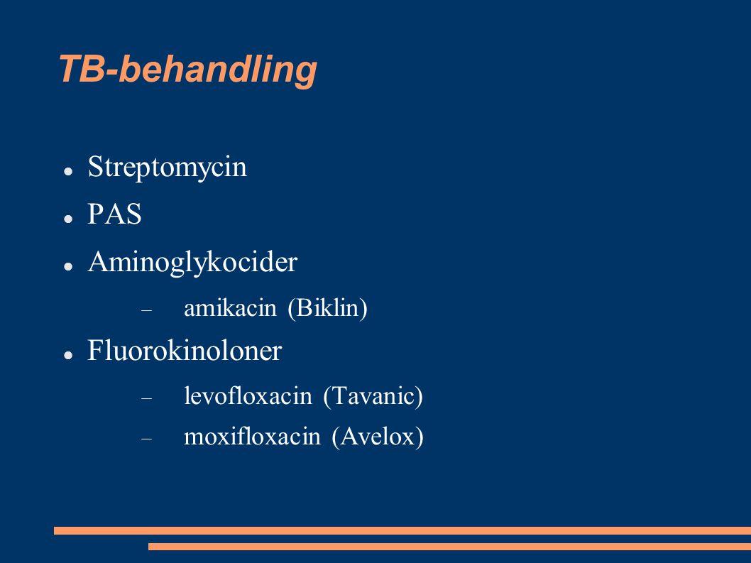 TB-behandling Streptomycin PAS Aminoglykocider  amikacin (Biklin) Fluorokinoloner  levofloxacin (Tavanic)  moxifloxacin (Avelox)
