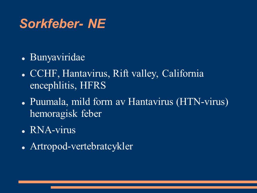 Sorkfeber- NE Bunyaviridae CCHF, Hantavirus, Rift valley, California encephlitis, HFRS Puumala, mild form av Hantavirus (HTN-virus) hemoragisk feber R