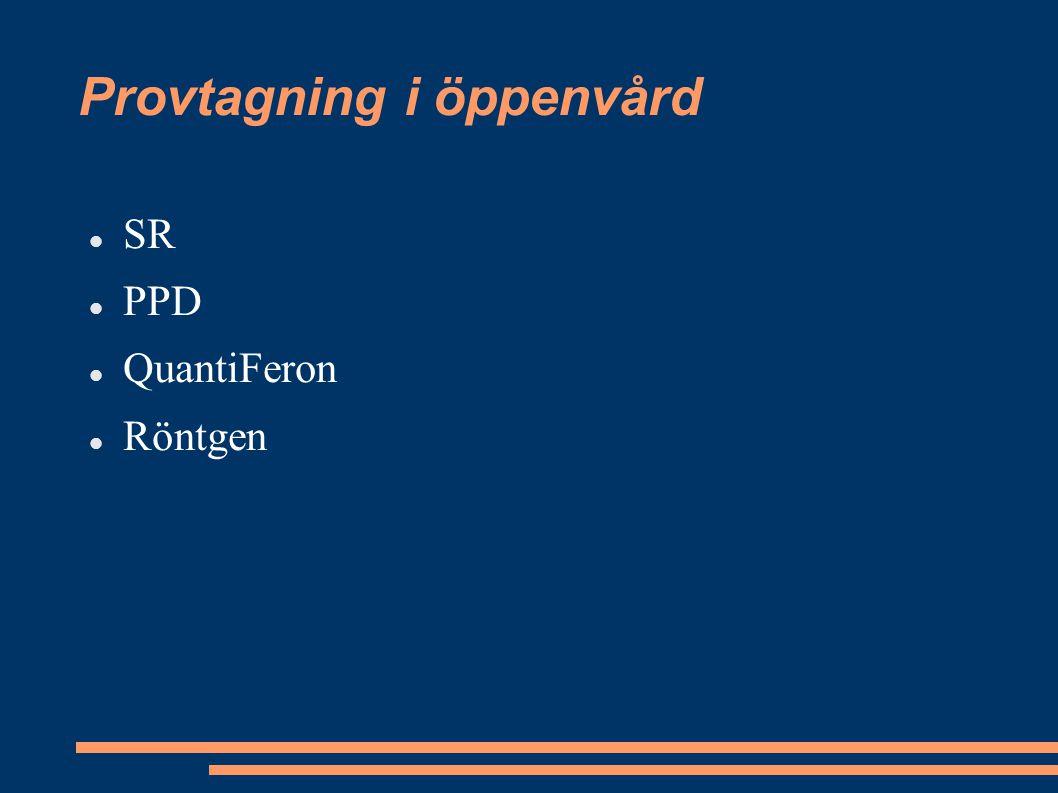 Provtagning i öppenvård SR PPD QuantiFeron Röntgen