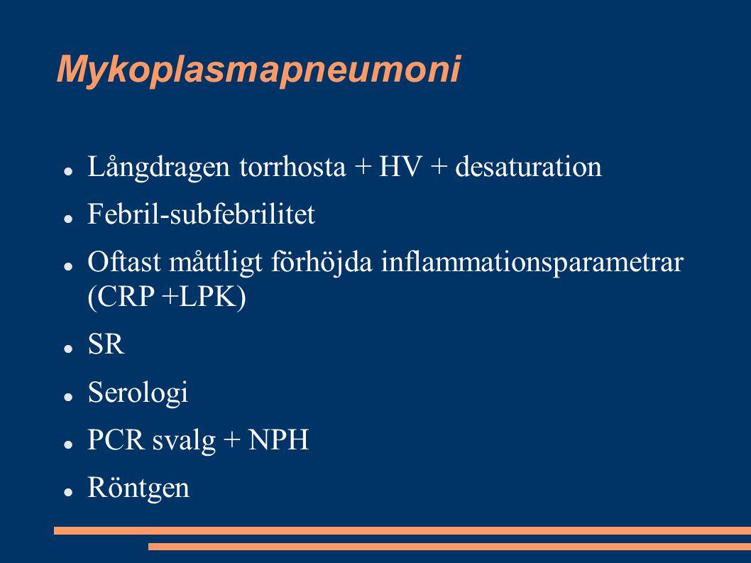 Mykoplasmapneumoni Långdragen torrhosta + HV + desaturation Febril-subfebrilitet Oftast måttligt förhöjda inflammationsparametrar (CRP +LPK) SR Serolo