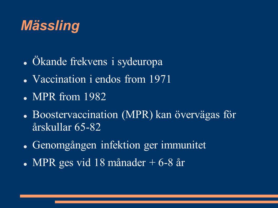 Mässling Ökande frekvens i sydeuropa Vaccination i endos from 1971 MPR from 1982 Boostervaccination (MPR) kan övervägas för årskullar 65-82 Genomgånge