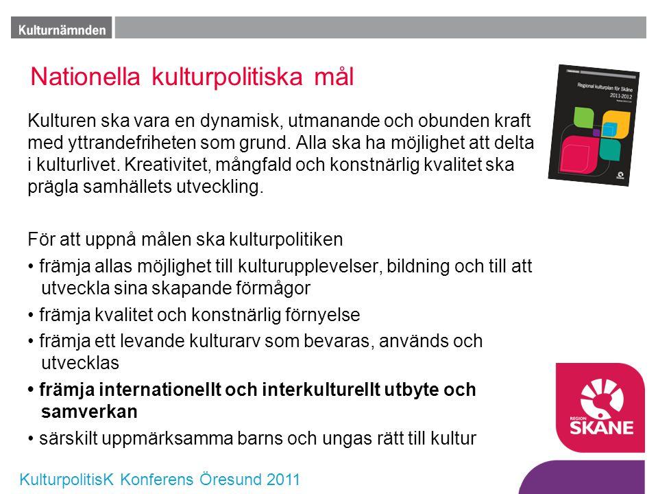 KulturpolitisK Konferens Öresund 2011 Nationella kulturpolitiska mål Kulturen ska vara en dynamisk, utmanande och obunden kraft med yttrandefriheten s
