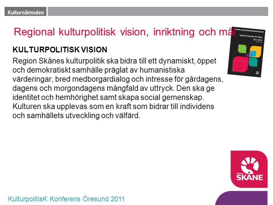 KulturpolitisK Konferens Öresund 2011 Regional kulturpolitisk vision, inriktning och mål KULTURPOLITISK VISION Region Skånes kulturpolitik ska bidra t